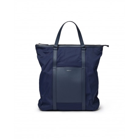 Marta backpack in navy recycled nylon and leather